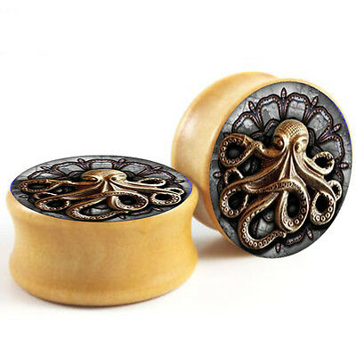 GOLD OCTOPUS WOODEN EAR PLUGS Piercing Stretchers Tunnels Timber Jewellery PL131
