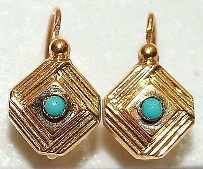 ANTIQUE FRENCH VICTORIAN 18K GOLD TURQUOISE HAND MADE FINE SMALL EARRINGS c1880