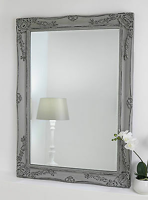 """Isabella Vintage Grey Shabby Chic Rect Antique Wall Mirror 42"""" x 30"""" V Large"""