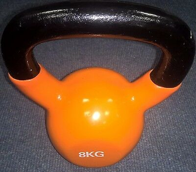 USED 8KG Vinyl Kettlebell Strength Training Home Gym Fitness Kettlebell REF 97
