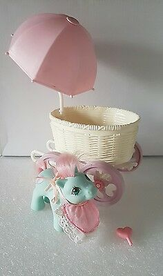 Vintage G1 1980's My Little Pony BABY CUDDLES AND CARRIAGE ♡☆♡