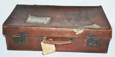 Vintage Brown Leather Luggage Suitcase Trunk Early 20C - FREE P&P [PL3054]