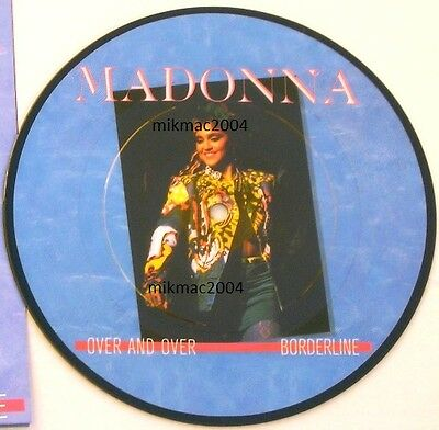 """MADONNA 7"""" PICTURE DISC OVER AND OVER with FOLDOUT POSTER SLEEVE PIC ITALY"""