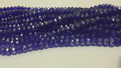 New ! 70pcs Faceted Rondelle Crystal Glass Beads blue 6x8mm F32