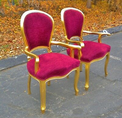 Pair luxurious gilt Armchairs in Louis XV Style