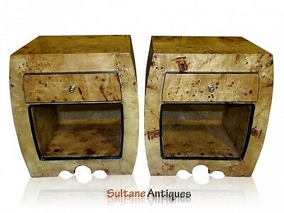 PAIR Art Deco style  Commodes Chest Blonde Elm Wood