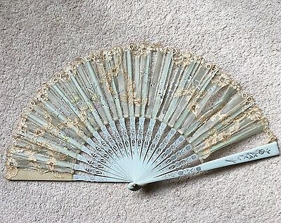 Antique Victorian Pale Blue Painted Silvered Wood Floral Painted Silk Lace Fan