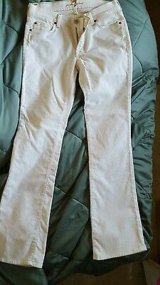 7 For All Mankind Jeans White Corderoy Low Bootcut Stretch 29 Long