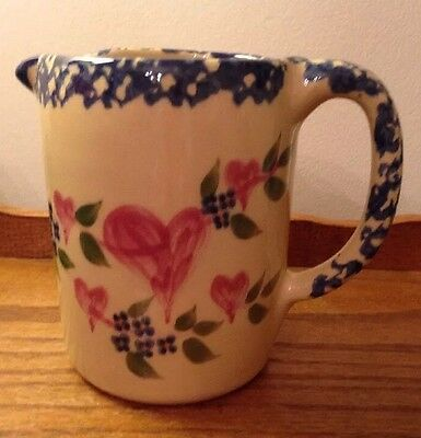 Roseville Ohio Alpine Pottery 1998 Sponge Painted Pink Heart Blue Floral Pitcher
