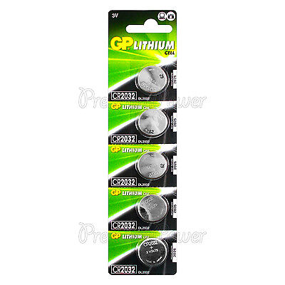 5 x GP Lithium CR2032 batteries 3V Coin Cell DL2032 BR2032 Remote Watch EXP:2026
