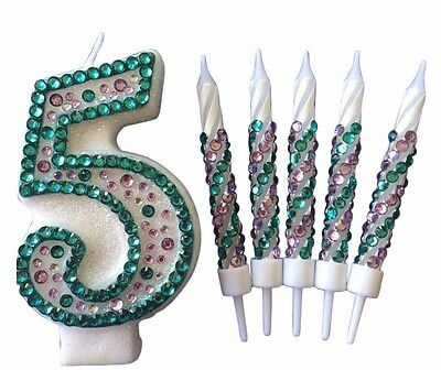 Little Mermaid Birthday Candles Diamanté Candles Cake Topper Party All Numbers