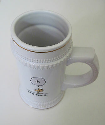 Woodstock Happiness Is White Ceramic Mug Cup Stein Snoopy Orca Coatings New