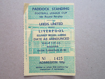 League Cup 4th Round Replay Leeds Utd V Liverpool 22nd November 1972 Ticket Stub