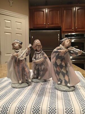 Lladro 5694 5695 and 5696 Set of 3 Rare Harlequins - Mint Condition