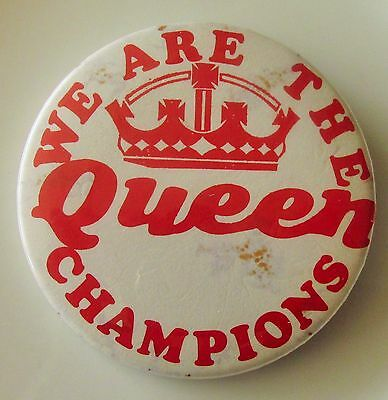 QUEEN LARGE VINTAGE METAL PIN BADGE FROM THE 1970's WE ARE THE THE CHAMPIONS