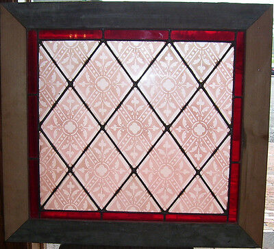 3 Antique TRANSLUCENT STAINED GLASS Windows_Pink/Red PATTERN_RED border (SG823)