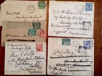 RARE 1890-1899 QUEENSLAND COVERS: JIMBOUR TO SUFFOLK x5, REDCAR, IPSWICH CANCELS