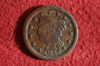 US Coins - 1847 Coronet Penny