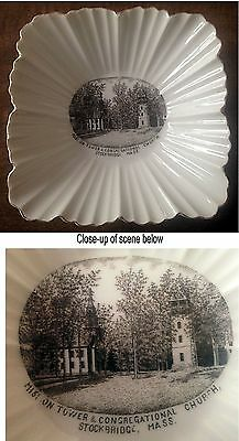 OLD souvenir china – detailed scene Stockbridge MA Mass Mission Tower & Church