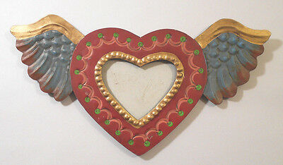 small vtg Painted Tin HEART w WINGS Mexican Folk Art PHOTO/Picture wall FRAME