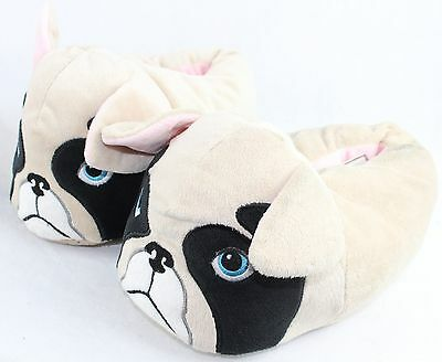 Pug Slipper Boots Cream Black Medium BNWT Girls Womens Grip New Look Night Wear