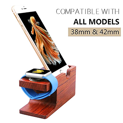 iPhone & Apple Watch Rose Wood Charging Stand Mount Holder Cell Phone Accessorie