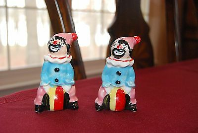 Vintage Porcelain Hand Painted Clown Salt And Pepper Shaker