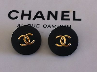 Gorgeous Chanel 2 black gold CC 18mm cuff buttons