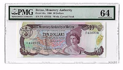 Belize 1980 dated 1st June 1980 $10, Pick# 40a, QEII, PMG 64,Choice Uncirculated