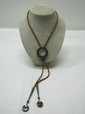 Onyx Pearl Sterling Silver Overlay Zuni Sus God Bolo Tie By Navajo Signed Ape