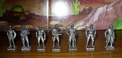 7 Soldatini Kinder Serie Personaggi Far West Color Argento-40 Mm. M.italy/scame