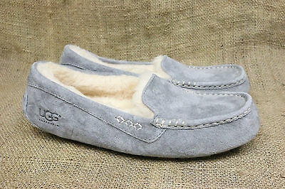 New Womens Ugg Ansley Grey Suede Sheepskin Moccasin Slippers Size 9