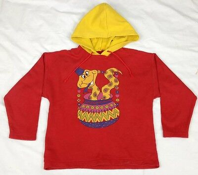 Kids st michael hoodied jumper - age 7 - 8 years - retro - vintage - red - snake