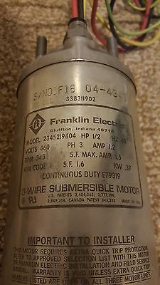 "Franklin Electric 4"" Submersible Motor 460v 3 phase 1/2 HP"