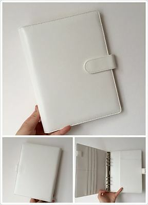 white planner organizer A5 large desk size PU leather NEW 6ring