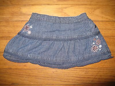 Sonoma Baby Girls Size 18 Months Denim Jean Skirt Flowers Lace Bloomers Elastic