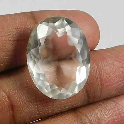 38.75 Cts FACETED NATURAL CRYSTAL QUARTZ OVAL SHAPE LOOSE GEMSTONE