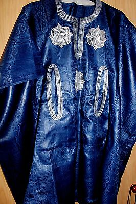 New Unique West African embroidered Danshiki Brocade~ Mens~Blue~ Fast P&P!