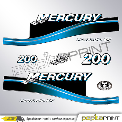 KIT Adesivi motore MERCURY 200 cv fourstroke/efi/optimax/saltwater plastificati.