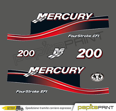 KIT Adesivi motore MERCURY 200 cv fourstroke/efi/optimax/saltwater plastificati