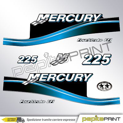 KIT Adesivi motore MERCURY 225 cv fourstroke/efi/optimax/saltwater plastificati