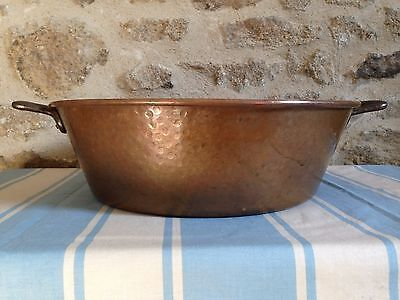 Vintage French Copper Jam Pot Preserve Jelly Pan 37cm Two Handles Roll Top