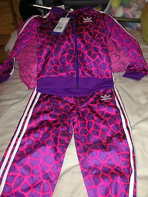 Adidas Original unusual pink&purple girls tracksuit brand new with tags age 3-4