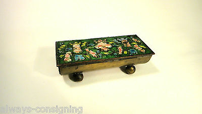Unusual Footed Antique Chinese Enamel Stamp Or Trinket Box~Early 20Thc~China