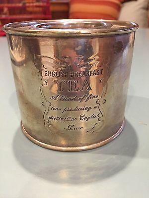Vntage Silver Plate English Breakfast Tea Caddy Round Silverplate Tea Canister