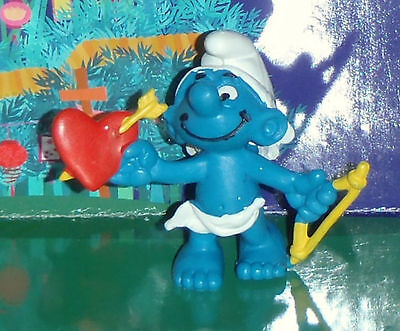 Vintage Cupid Smurf With A Yellow Bow & Arrow Pierced Heart 1981 Smurf Lot
