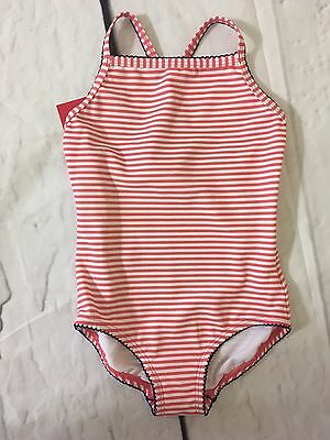 Hanna Andersson Girls Pink Striped Swim Suit One Piece Size 120 7 Nwt