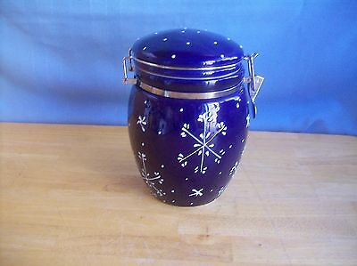Large Dark Blue Canister With Snowflakes