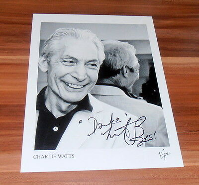 Charlie Watts *The Rolling Stones*, original signed Photo 20x25 cm (8x10)