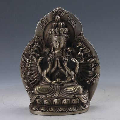 Chinese Tibetan Silver Hand-carved Thousand-hand Bodhisattva Statue  Z192
